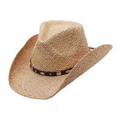 Raffia Straw Western Cowboy Summer Sun Hat  Silver Canyon  Natural