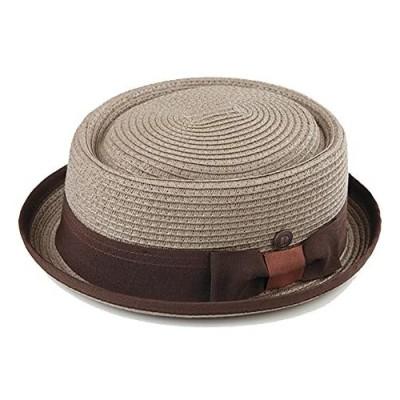 DASMARCA Mens Summer Paper Straw Telescope Crown Retro Porkpie Hat