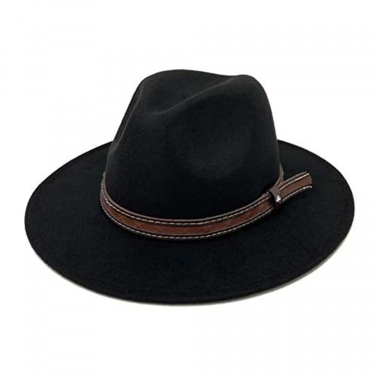 E-G-M Fedora Hat for Men & Women Wide Brim Felt Dress Hat with Retro Band