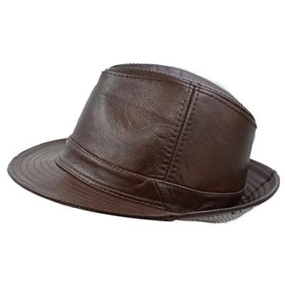 IFSUN Men & Women's Cowhide Jazz Hat Short Brim Leather Fedora Hat