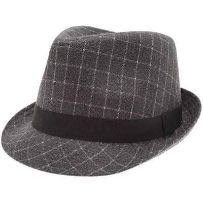 MIRMARU Men's Classic Fashion Short Brim Trilby Structured Gangster Fedora Hat with Band