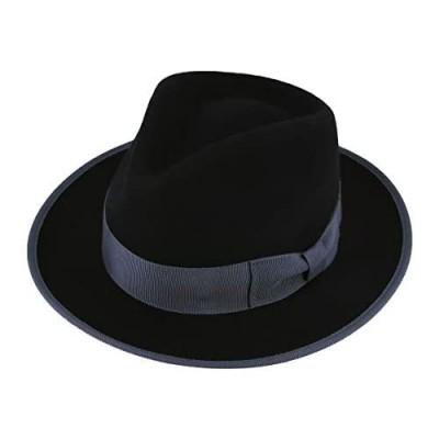 MIX BROWN Men's Frederick Fedora Trilby Hat Crushable Wool Felt Wide Brim Fedora Hat