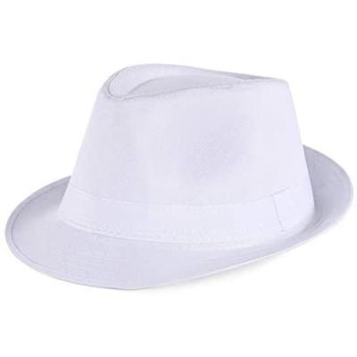 PORSYOND Felt Fedora Hat Men Women Belt Panama Jazz Hat Trilby Hat with Band