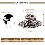 PORSYOND Wide Brim Leopard Felt Fedora Hat Men Women Belt Buckle Panama Jazz Hat Trilby Hat with Leather Band