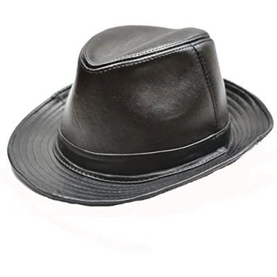 Yosang Men's Genuine Leather Fedora Porkpie Hat