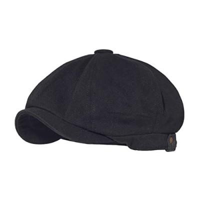 Croogo Men's 8 Piece Newsboy Flat Cap Cotton Newsboy Gatsby Ivy Cap Cabbie Driving Hat Octagonal Golf Beret Hat Scally Hats