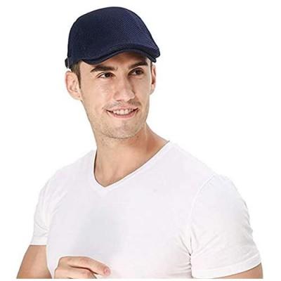 Croogo Men's Mesh Flat Cap Breathable Summer Newsboy Hat Beret Ivy Gatsby Hats Cabbie Duckbill Caps for Golf Driving Hunting