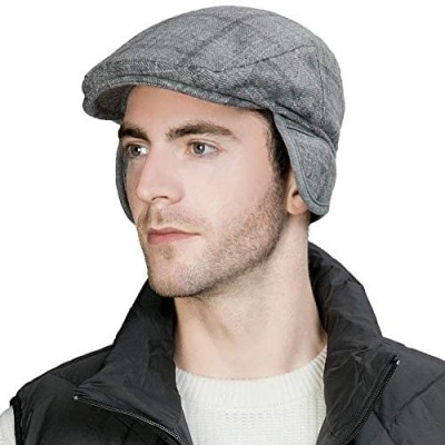 Jeff & Aimy Winter Flannel Wool Blend Irish Ivy Flat Newsboy Cap with Ear Flaps for Men Driver Hat 56-60CM