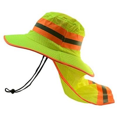 Goyoma Hi Visibility Reflective Work Safety Neck Flap Boonie Hat Bucket Cap