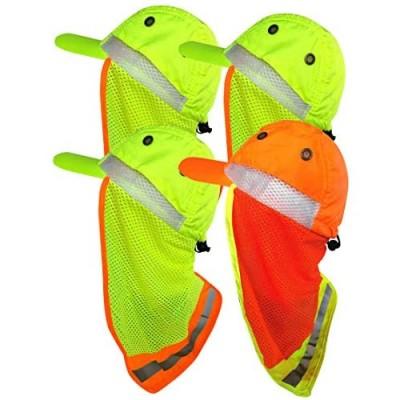 Men Hi Vis Baseball Cap Hiking Camping Ear Flap Sun Neck Cover Reflective Neon Hat Adjustable