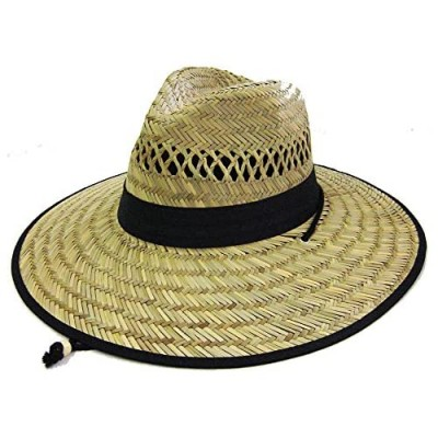 Men's Straw Outback Lifeguard Beach Surfing Outdoor Working  Vented Straw Sun Hat w/ 4.5-inch-Wide Brim & Chin Strap