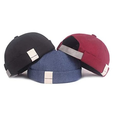 Mongous Mens Retro Style Beanie Cap Breathable Adjustable Brimless Hat Rolled Cuff Harbour Hat
