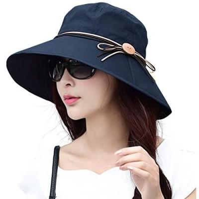 Comhats Summer Cotton Wide Brim Bucket Sun Hat for Women UPF Travel Beach Chin Strap
