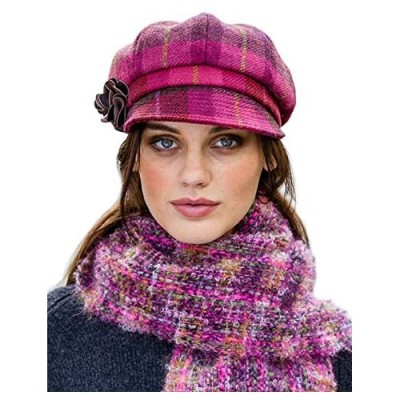 Plaid Ladies Newsboy Cap  Red  One Size Fits Most