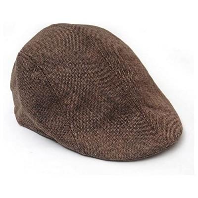 Sepia Mens Womens Linen Plain Flat Newsboy Hat Cap (Brown)
