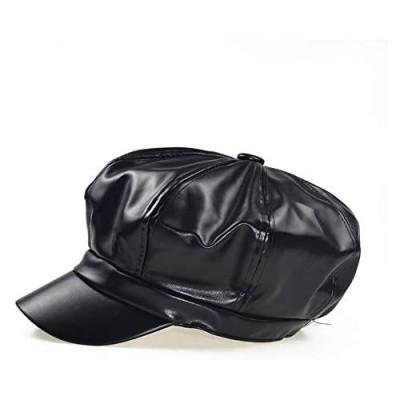 SUNTRADE Women Newsboy Hats 8 Panel Ivy Beret PU Leather Cabbie Cap