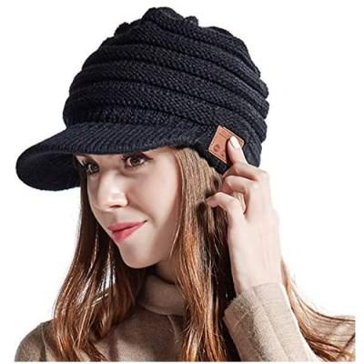 Women Bluetooth Newsboy Cabbies Beret Winter Beanie Warm Cotton Painter Crochet Knit Visor Hats with Brim Skull Peak Cap